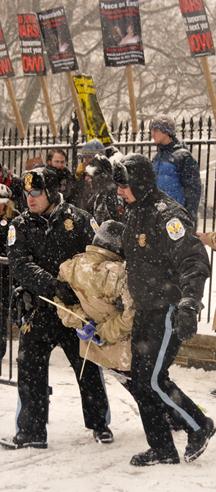 Leah Bolger being arrested