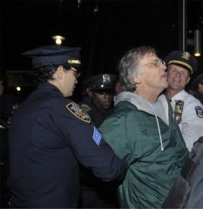 Vietnam veteran Mike Hastie is arrested Oct. 7. Photo by ELLEN DAVIDSON