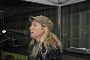 Dr. Margaret Flowers addresses antiwar activists at Vietnam Veterans Memorial Plaza Oct. 7, 2012. Photo by ELLEN DAVIDSON