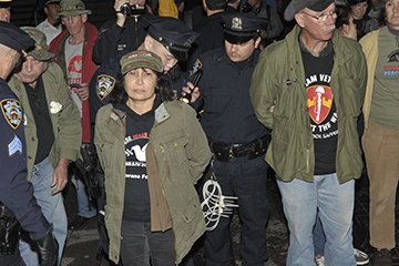 Carol Ezell is arrested at the Vietnam Veterans Memorial in New York Oct. 7 Photo by MIKE HASTIE