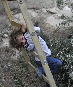 Nisham tries to climb the ladder. Photo by ELLEN DAVIDSON