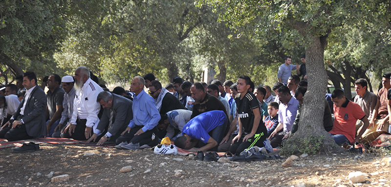 Prayers under the olive trees before the protest. Photo by ELLEN DAVIDSON