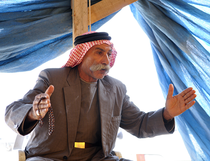 Sheikh Sayeh Al-Toury: 'Where are the human rights?' Photo by ELLEN DAVIDSON